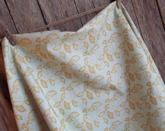 Blue Gold Gink Leaf Fabric - Fat Quarter - Kona Cotton - Other sizes available upon request
