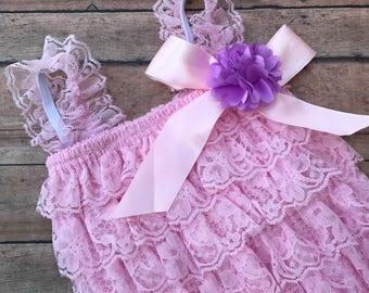 Pink Lace Romper - Lace Romper - Petti lace romper - Newborn Romper - baby Romper - Ruffle romper - 1st birthday infant romper - Baby Girl