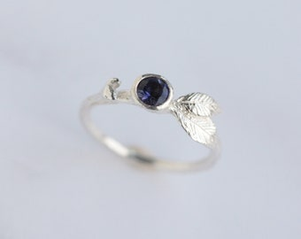 Silver iolite ring -  Woodland jewellery - Silver twig ring - Organic ring