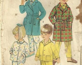 "Simplicity 8291 Vintage 1960's Boy Girl Child Children Robe Pajamas Sewing Pattern Size 6 Waist 22"""