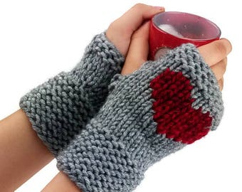 Fingerless gloves - Heart Arm warmers - Womens Fingerless - Long Fingerless Mittens - Wrist warmers - Hand warmers |