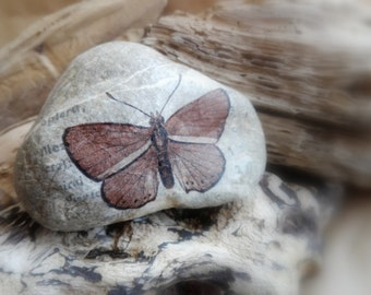 STONE PAPERWEIGHT BUTTERFLY,