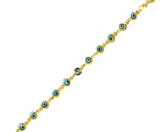 14K Solid Yellow Gold Blue Evil Eye Bracelet - Good Luck Charm Chain Link