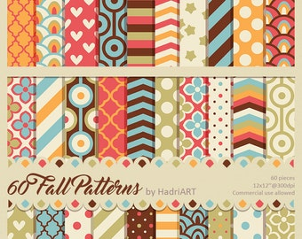 60 Commercial Use Fall Digital Papers SALE