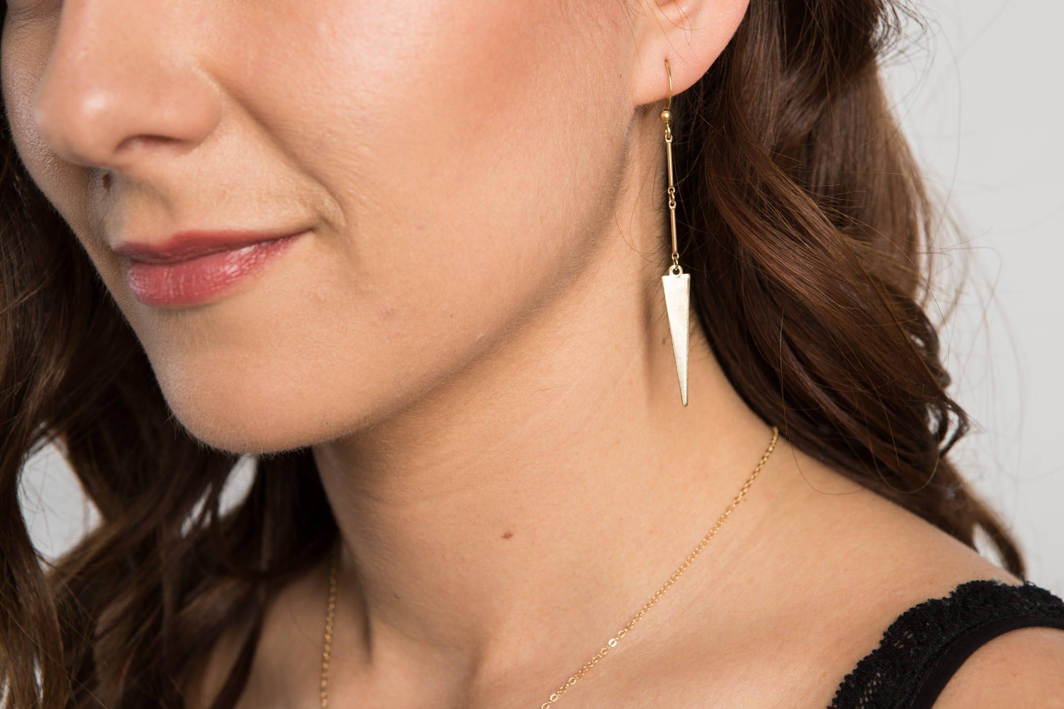 triangle dangle earrings geometric jewelry dangle long. Black Bedroom Furniture Sets. Home Design Ideas
