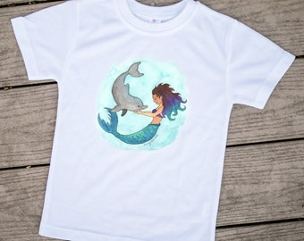 Mermaid kids outfit, Dolphin shirt, Mermaid kids clothes, Toddler shirts, Kids tees, Cute kids clothes, Dolphin