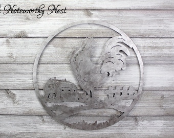AGED SILVER LARGE  Metal Rooster Wall Decor  / Kitchen Decor  / Rooster Decor / Cottage Kitchen / Industrial Kitchen / Farmhouse Decor