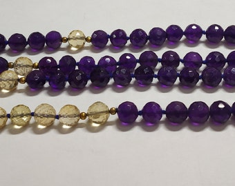 Natural Amethyst 108 Faceted Round Balls Strand  width:- 6.5 mm Hand Knotted Necklace  Meditation Prayer Yoga Mala