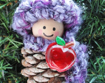 Purple Teacher Apple Pinecone Gnome Christmas Tree Ornament Crocheted Hat & Scarf Handpainted Wooden Holiday Decoration Distinctly Daisy