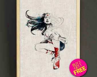 Wonder Woman Watercolor Art Print Superhero Poster House Wear Wall Art Decor Gift Linen Fabric Print - Buy 2 Get FREE - 204s2g