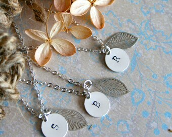 Set of 5 Bridesmaid Necklaces, Rustic Wedding, Personalized,  Bridesmaid Set,  Initial, Bridesmaid Gift, Forest Bridal Party Gift