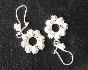 Handcrafted Sterling Silver Artisan Flower Earrings VINTAGE ETHNIC   (image enlarged)