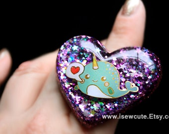 Narwhal Ring, Purple Heart Ring, Love Gift for Her, Kawaii Glitter Heart Ring, Chunky Resin Ring, Aqua Narwhal Ring, Handmade by isewcute
