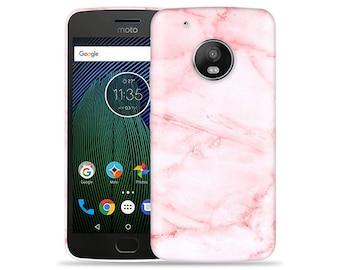 Motorola Moto G5 #Pink Marble Design Hard Phone Case