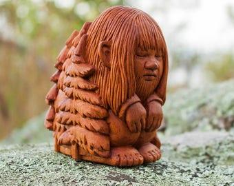Sleeping Troll - Hand Carved Wood Sculpture