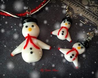 Christmas Snowman Earrings, Christmas Snowman Necklace, Christmas Jewelry, Murano Glass Jewelry, Murano Glass Necklace, Murano Glass Earring