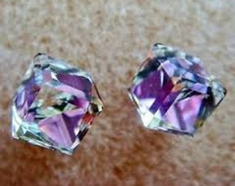 Swarovski Crystal lilac pink Sterling Silver Stud Earrings