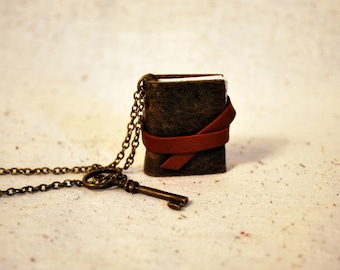 Mini Earthy Leather Book Necklace