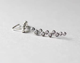 Bezel Ear Climbers, Sterling Silver Earrings, Minimalist Earrings, Silver Climbers, Earrings, Rose and Choc