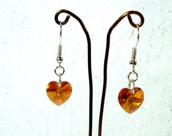 Amber Crystal Heart Earrings - Swarovski Elements