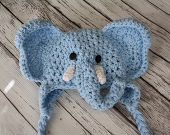Elephant Hat - Blue Elephant Hat - Baby Boy Photo Prop - Halloween Elephant Costume - Baby Hats - Children's Hat - by JoJo's Bootique