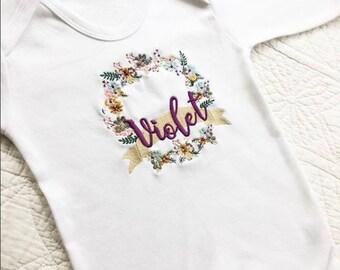 Whimsical floral personalised babygrow sleep suit