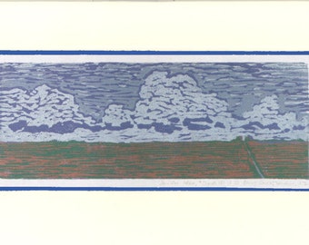 Clouds off of 35 Going South - Woodblock Print Art Card