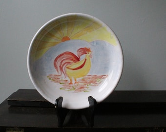 Proud Rooster Majolica Plate-