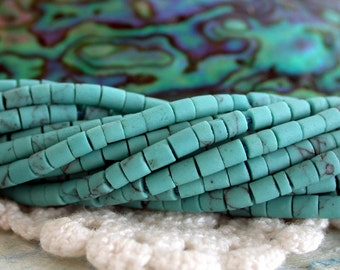 Heishi Beads, Turquoise, Turquoise Beads, Small Hand Cut Turquoise Heishi Beads SP-206