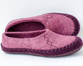 Womens felted slippers Rose-Purple | Moccasin Slippers | Warm Slippers | Organic Slippers | Home Shoes