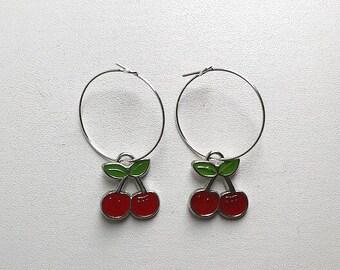 Silver Cherry Hoop Earrings