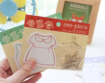 Sticky notes - Clothing Memo - Dress Memo - Vest Memo - Post-it notes - Note Pad - Girly note pads - Hanger Clips - Cute Paper clips
