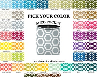 Auto Pocket - Honeycomb - PICK YOUR COLOR - Car Accessory Automobile Caddy - Sunglasses Cell Phone Charger Bin Bag Case Holder