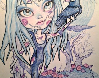 Fantasy Horror Big Eye Blue Goth Girl Art Print