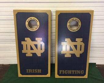 Notre Dame Fighting Irish Custom Built Cornhole Boards Bag Toss with FREE bags, 2 Tone paint Design