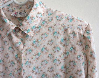 Pastel Pink Long Sleeve Silky Blouse Floral Print Womens Shirt Pale Pink Top Medium Size