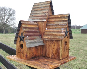 CEDAR Bird House, Large Outdoor Burnt Cedar Triple bird house, Old Tin Top Hand Made with Black Barn star Blue Birds