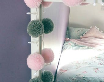 Fairy lights with 20 (pink and grey) handmade yarn pompoms