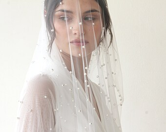 wedding Veil, fingertip length veil, veil with pearl, mid length veil, 4022