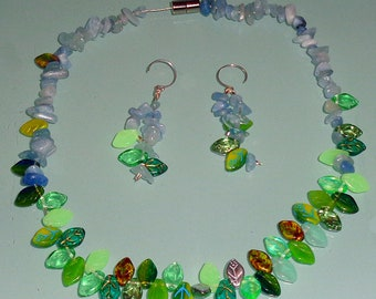 Aquamarine Spring Necklace Earrings Set Czech Glass Leaves Multi Colored Sterling Silver Chain Magnetic Clasp