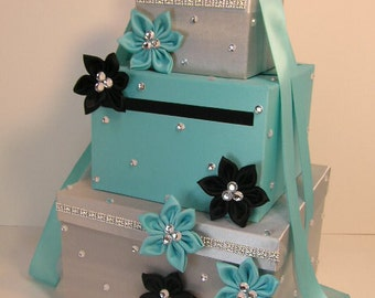 Wedding  Card Box Blue and Silver Gift Card Box Money Box Holder.-Special Custom order.Customize your color