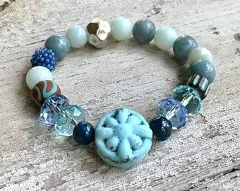 Blue Kyanite  Lampwork Boho Beaded Bracelet, Boutique Wearable Art, For Her Under 300 Free Gift Wrap Bohemian Girlfriend Wife Mom gift