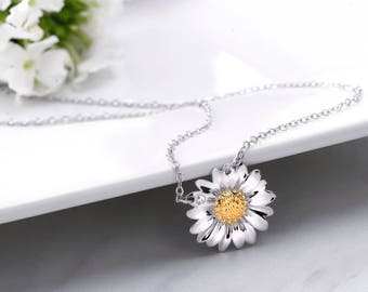 """925 Sterling Silver Daisy Necklace-16""""+2"""" Chain, Daisy Cubic Zirconia Necklace, Daisy Flower Necklace, Daisy Flower Charm Necklace"""