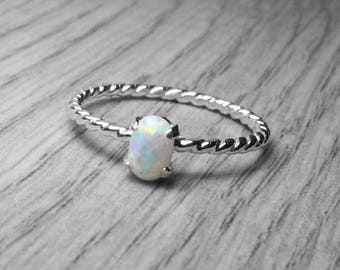 Opal Ring • Sterling silver ring • White opal ring stacking