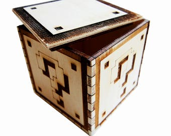 Question Mark wooden box piggybank