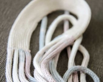 Knitted necklace fiber jewelry necklace light grey pink brown fiber necklace chunky necklace