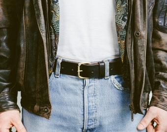 Dress LEATHER Belt . Men Belt Black Full Grain Leather Brass Buckle Belt Custom Made Vintage Belt Groomsmen Gift Anniversary Gift