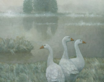 The Three Geese, Winter Landscape Painting Signed Giclee Art Print