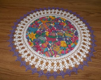 Easter Doily, Easter Baskets, Easter Eggs, Fabric Center, Crocheted Edge, 18 Inches, Table Topper Lace, Crochet Doily, Easter Centerpiece