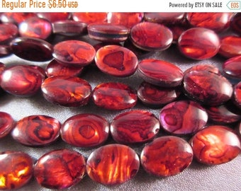 ON SALE 20% OFF Red Abalone Shell Laminated Oval Beads 26pcs